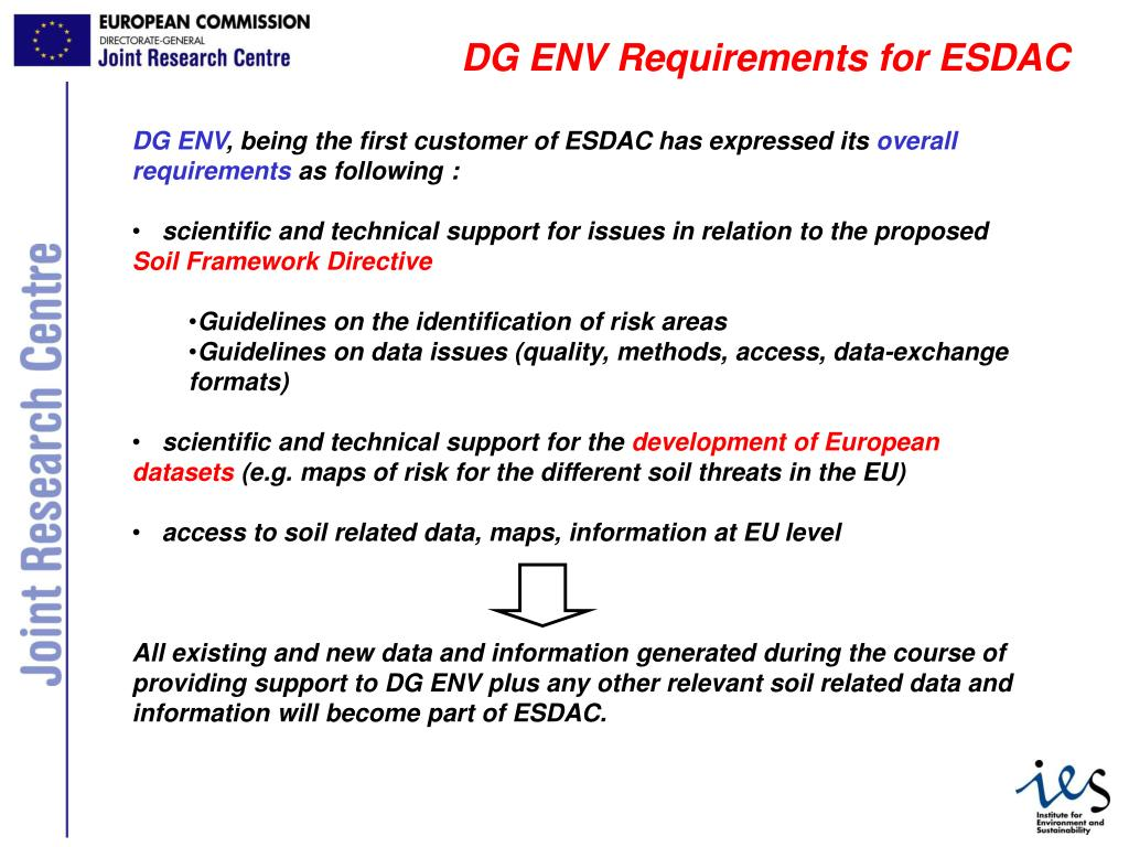 DG ENV Requirements for ESDAC