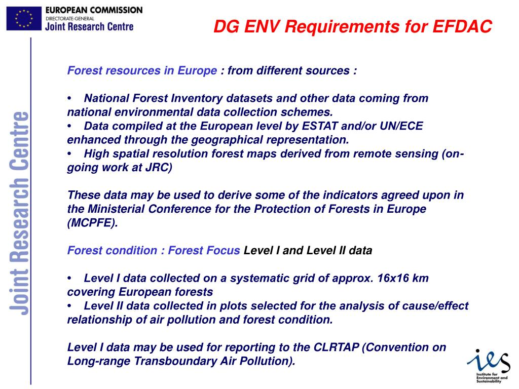 DG ENV Requirements for EFDAC