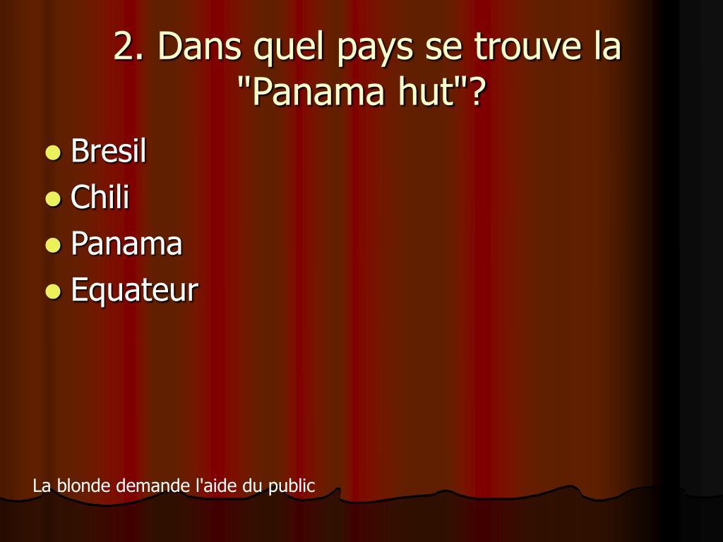"""2. Dans quel pays se trouve la """"Panama hut""""?"""