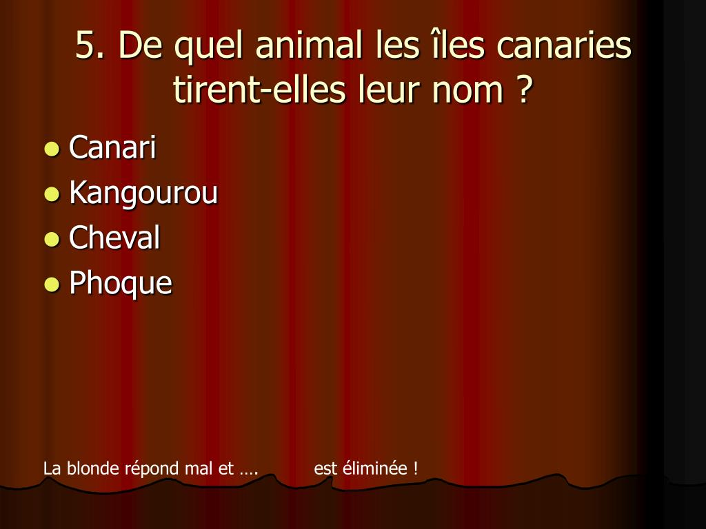 5. De quel animal les îles canaries tirent-elles leur nom ?