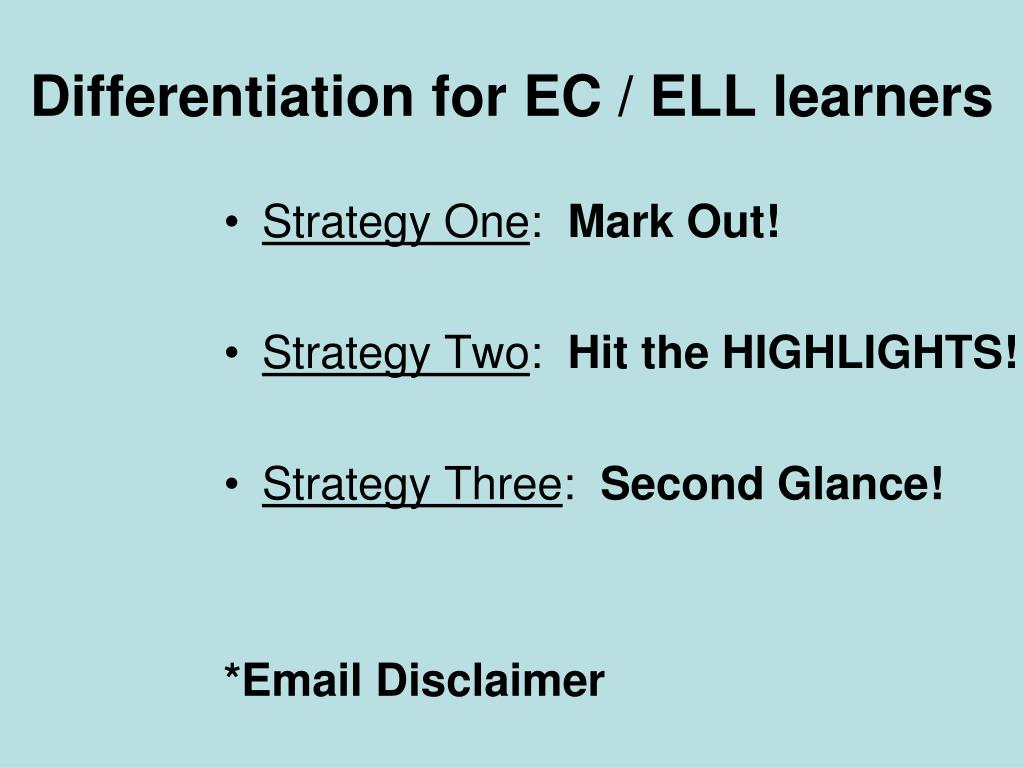 Differentiation for EC / ELL learners
