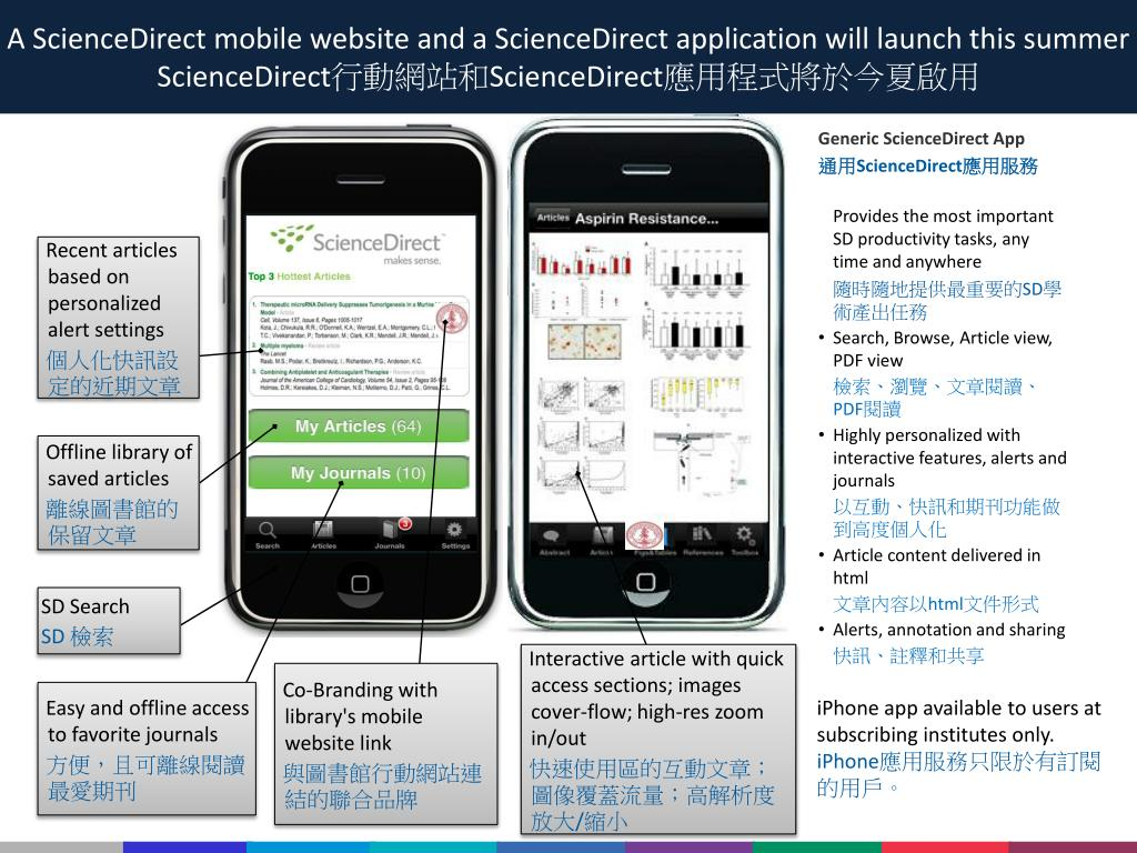 A ScienceDirect mobile website and a ScienceDirect application will launch this summer