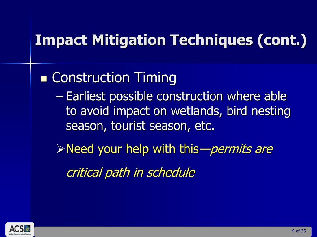 Impact Mitigation Techniques (cont.)