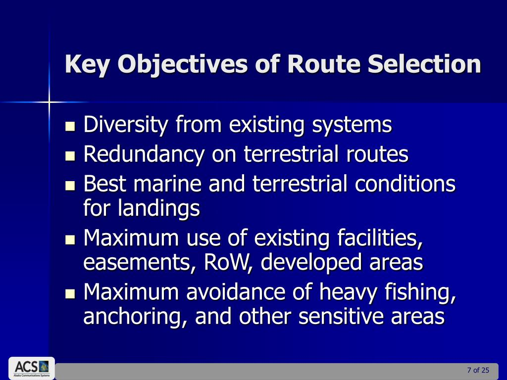Key Objectives of Route Selection