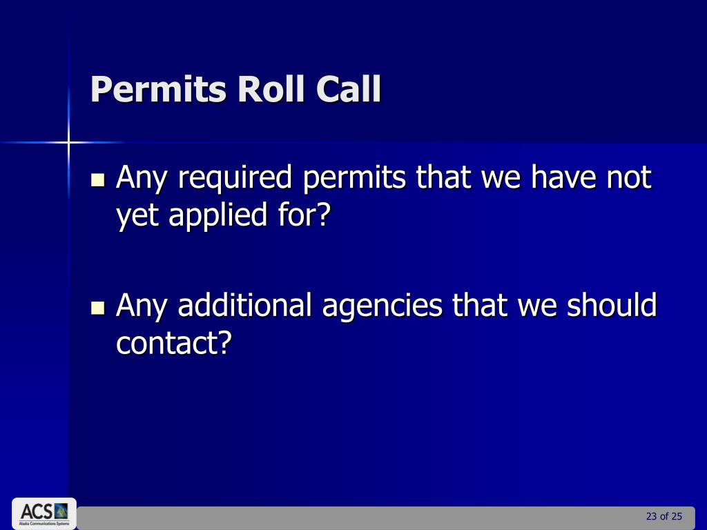 Permits Roll Call