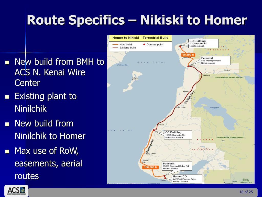 Route Specifics – Nikiski to Homer