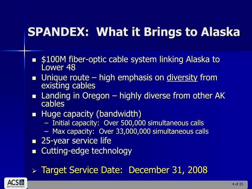 SPANDEX:  What it Brings to Alaska