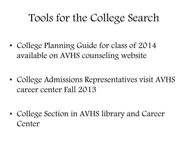 Tools for the college search