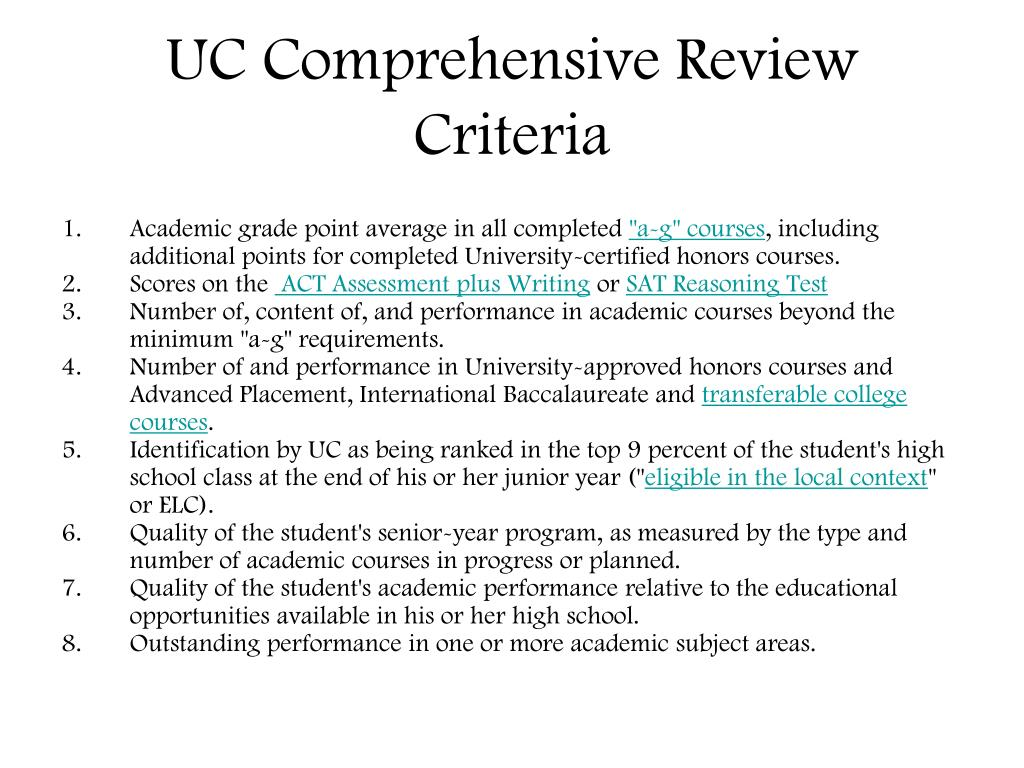 UC Comprehensive Review Criteria
