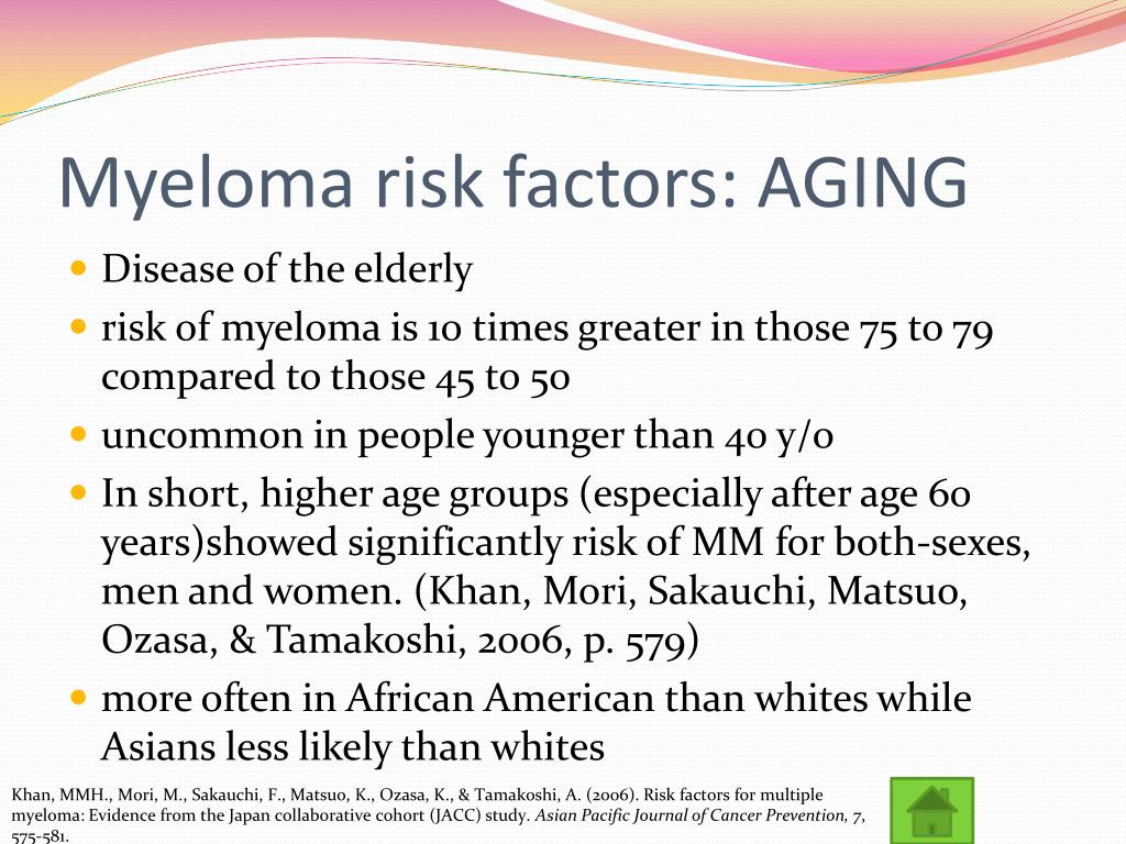 Myeloma risk factors: AGING