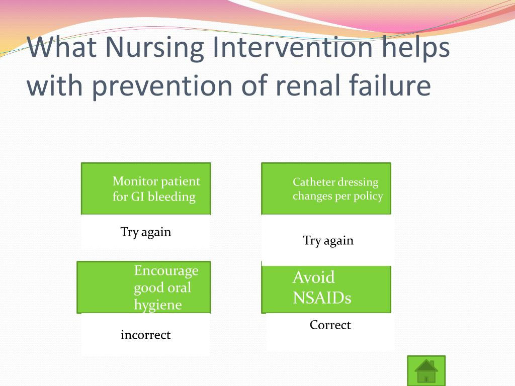 What Nursing Intervention helps with prevention of renal failure