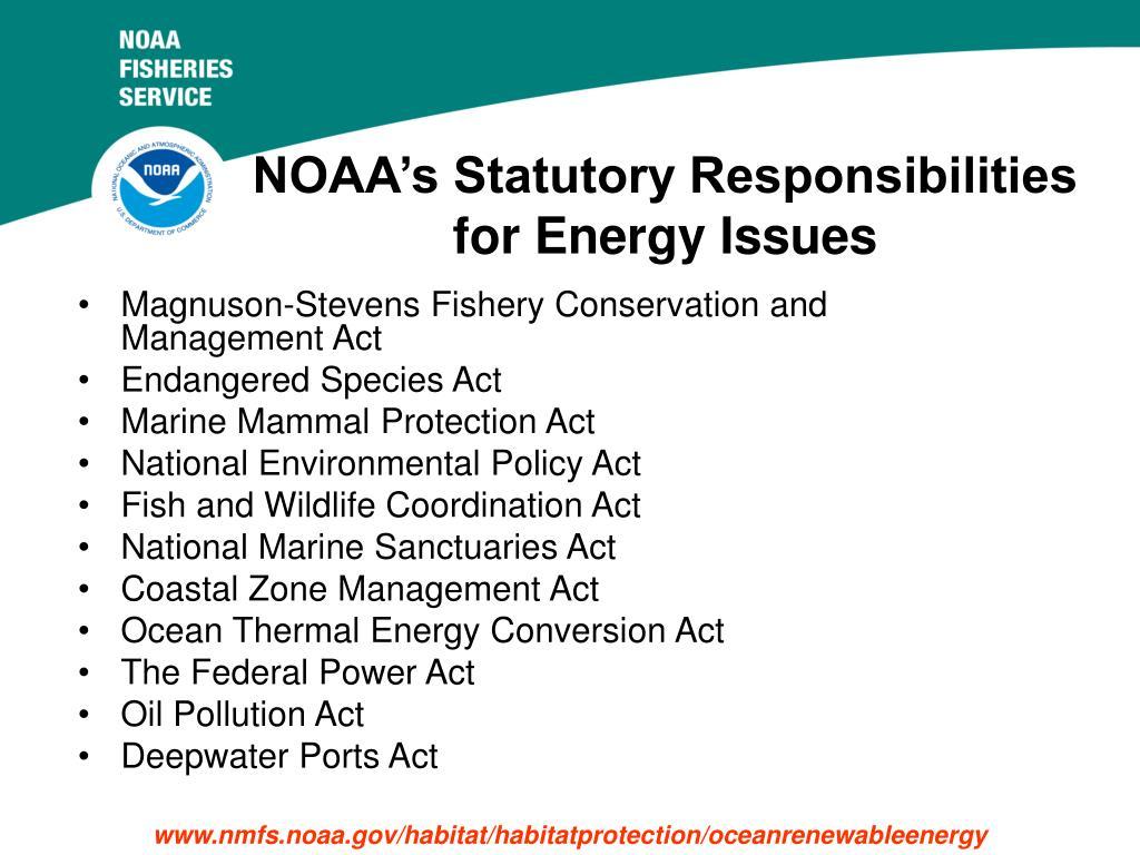 NOAA's Statutory Responsibilities