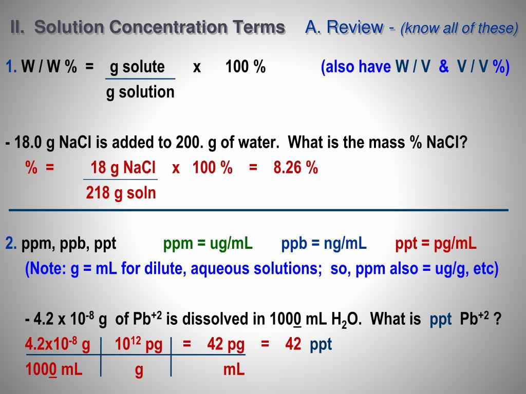 II.  Solution Concentration Terms