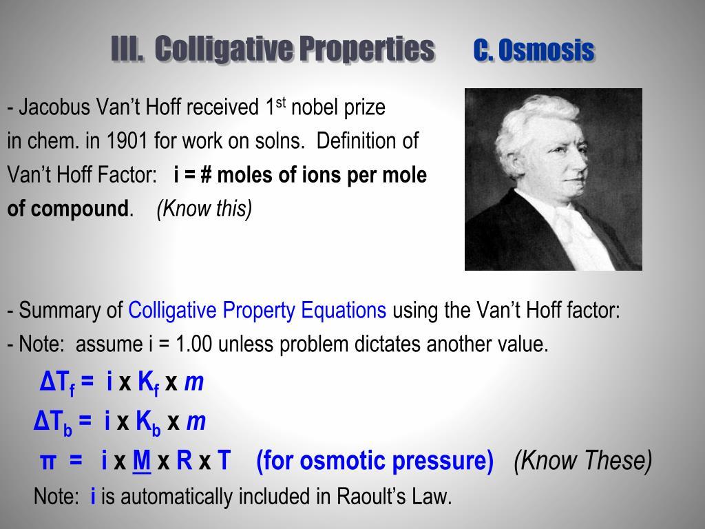 III.  Colligative Properties