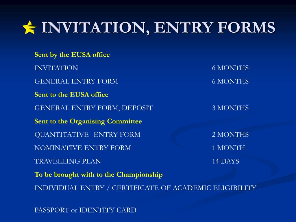 INVITATION, ENTRY FORMS