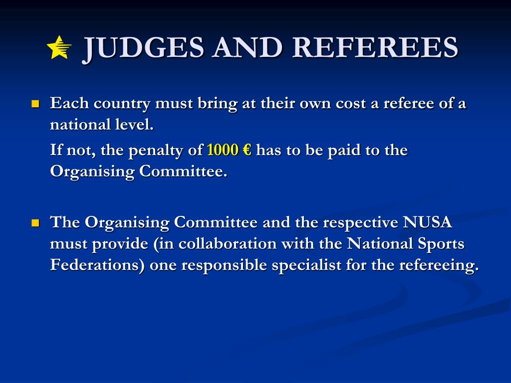 JUDGES AND REFEREES
