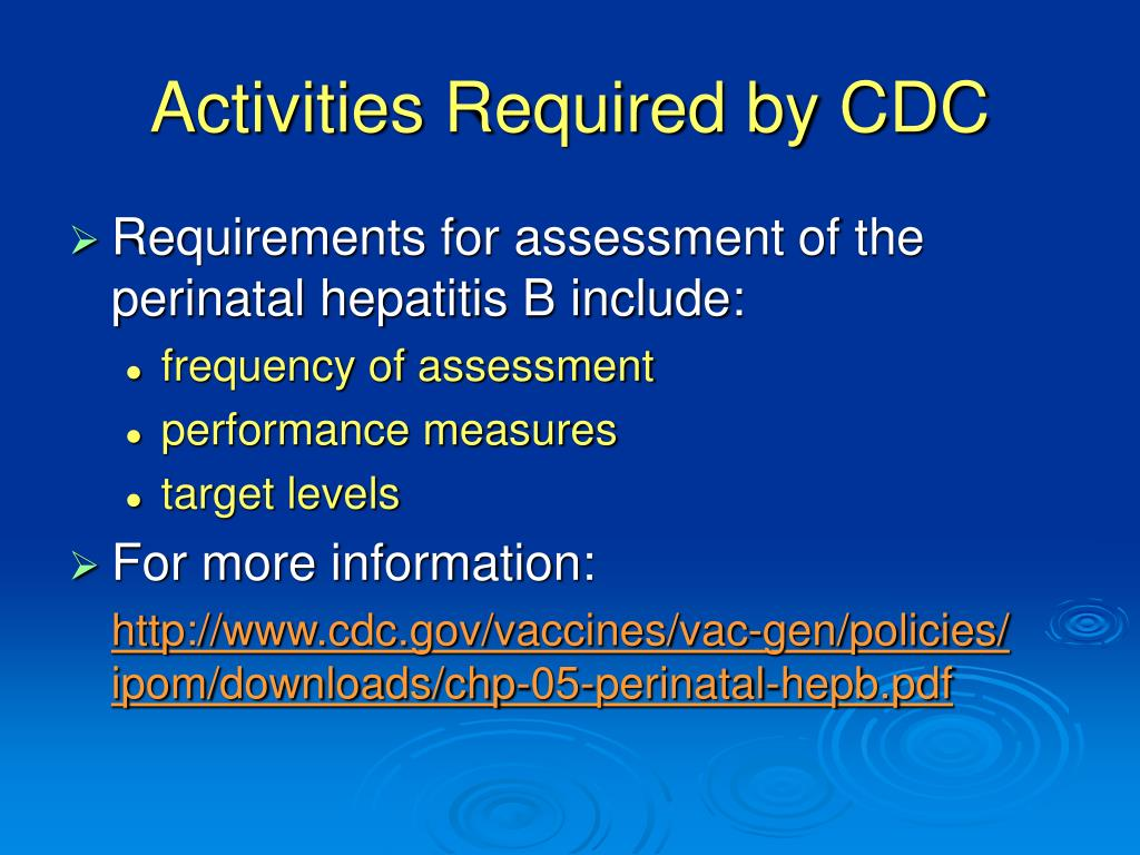Activities Required by CDC