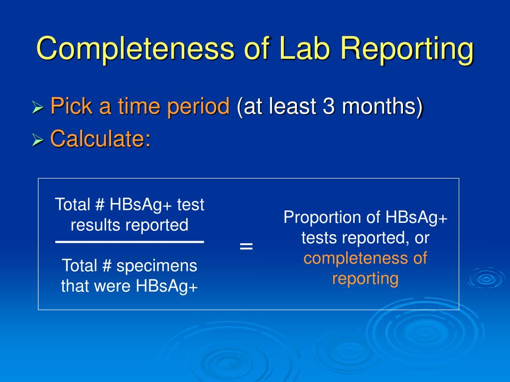 Completeness of Lab Reporting