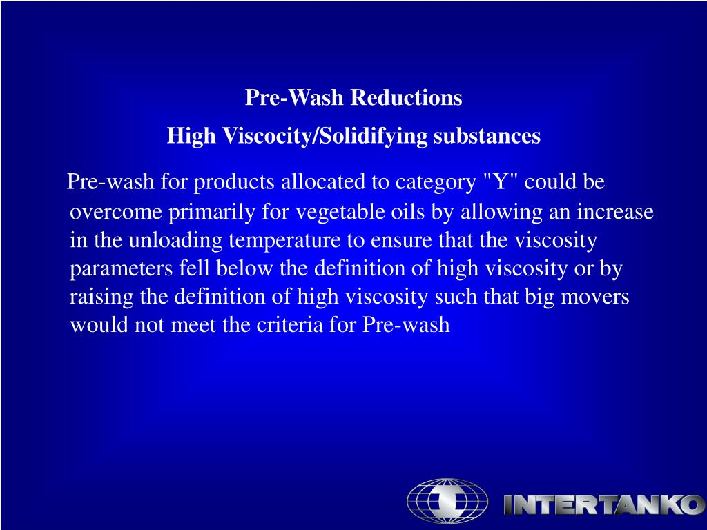 Pre-Wash Reductions