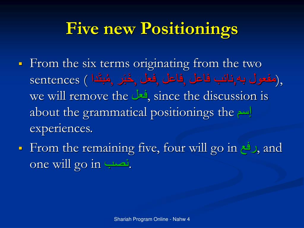 Five new Positionings
