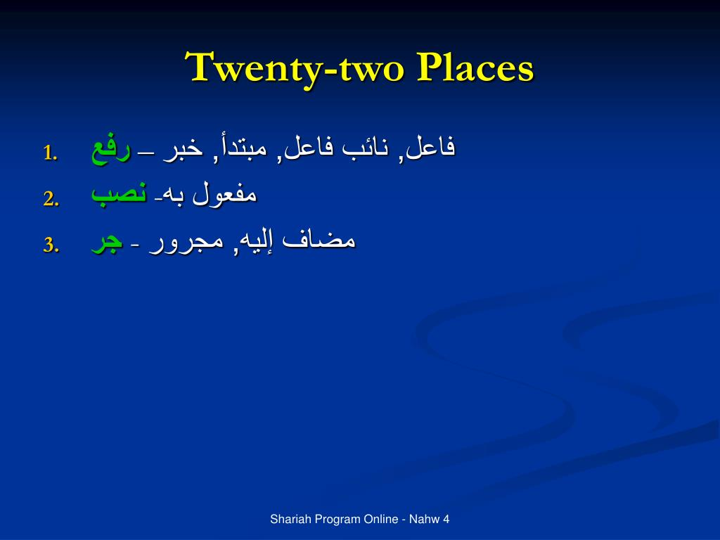 Twenty-two Places
