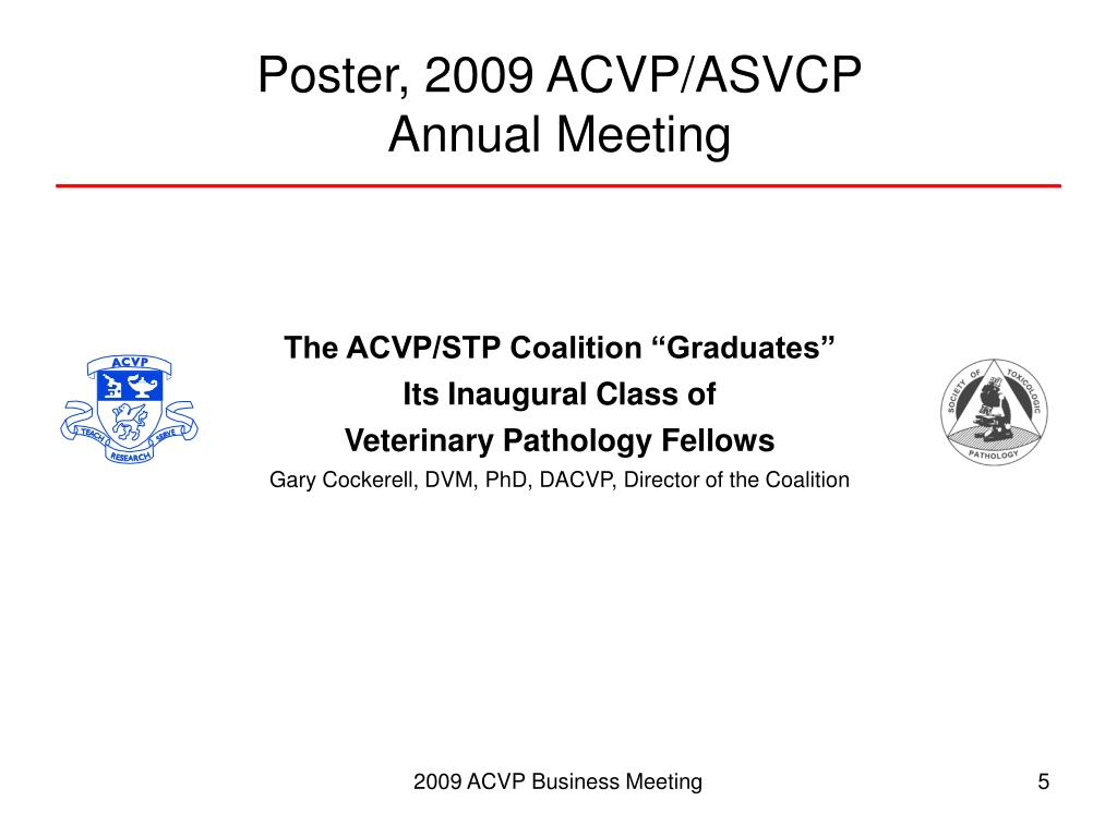 Poster, 2009 ACVP/ASVCP