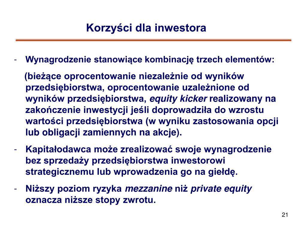 Korzyści dla inwestora