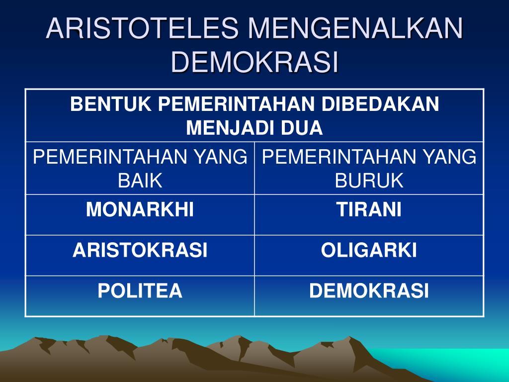 ARISTOTELES MENGENALKAN DEMOKRASI