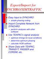 export import for synchro simtraffic