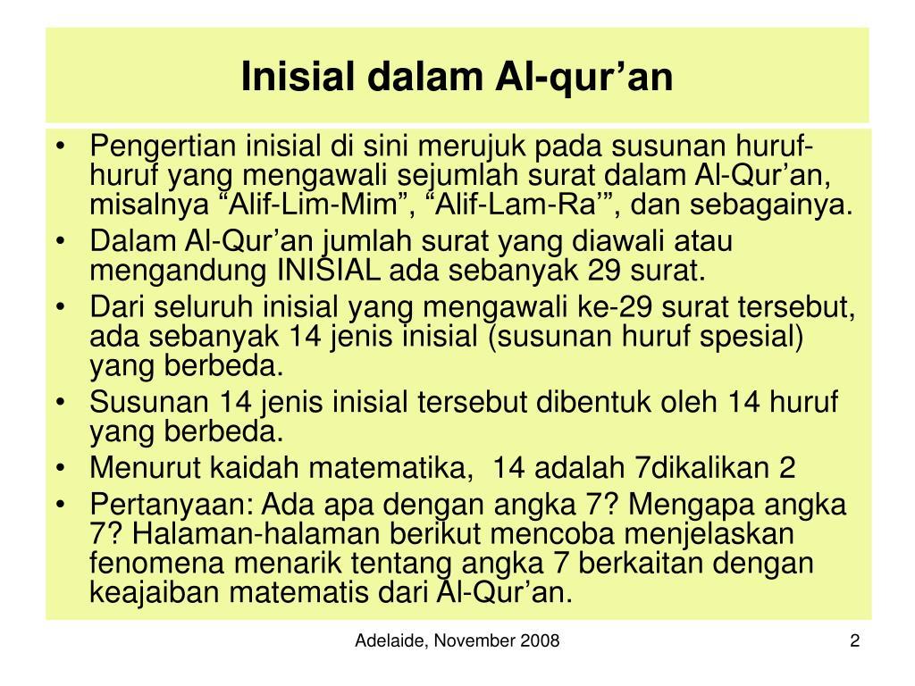 Inisial dalam Al-qur'an
