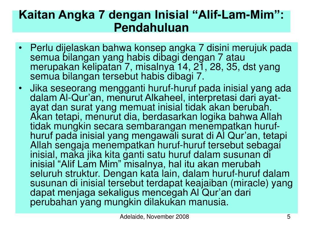 """Kaitan Angka 7 dengan Inisial """"Alif-Lam-Mim"""": Pendahuluan"""