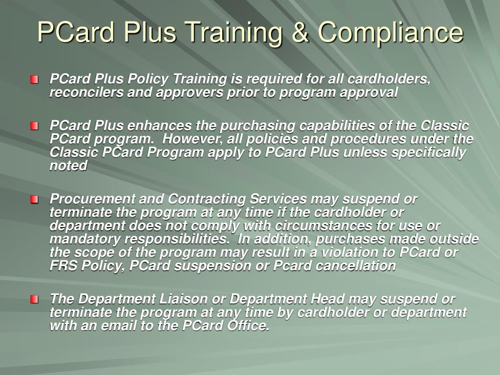 PCard Plus Training & Compliance