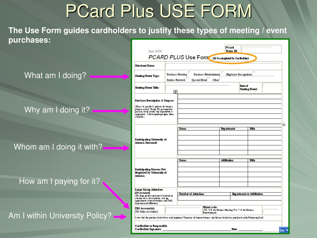 PCard Plus USE FORM
