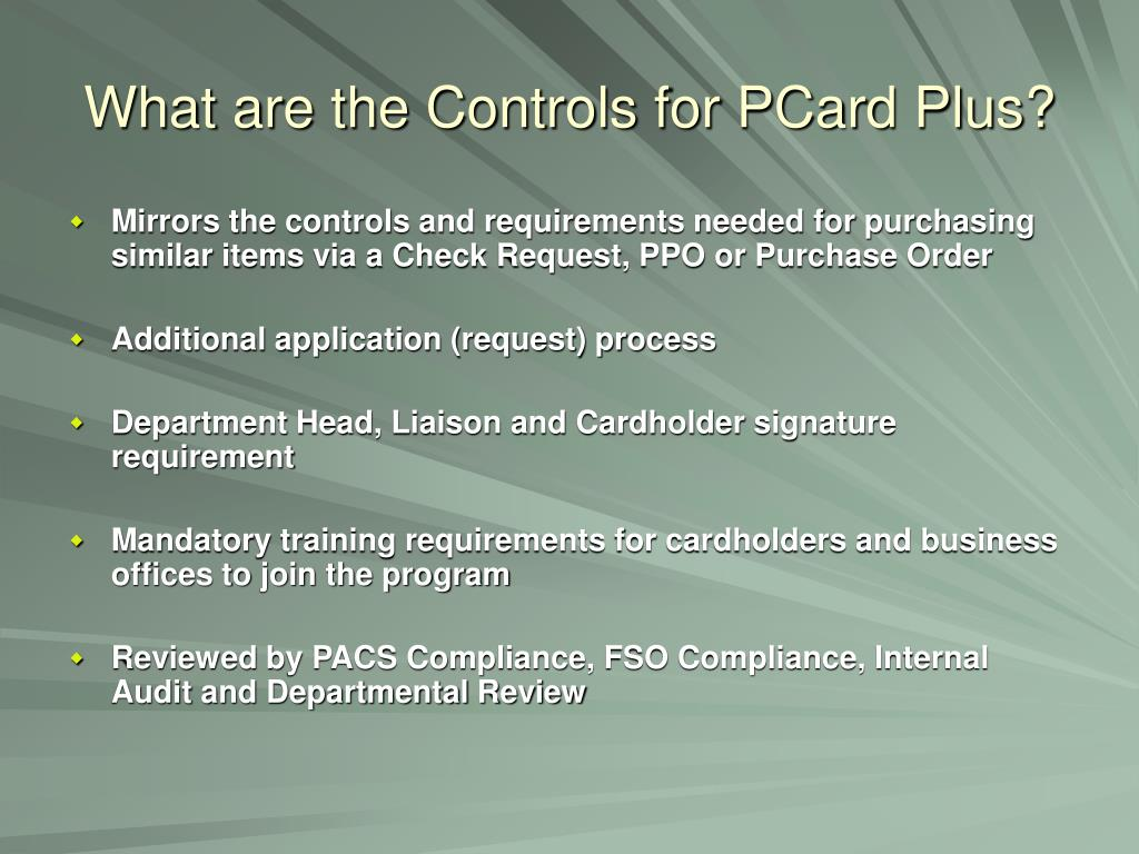 What are the Controls for PCard Plus?