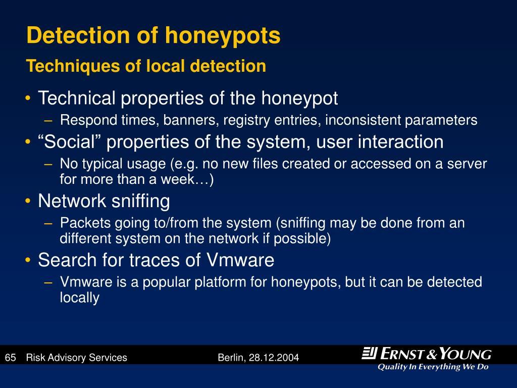 Detection of honeypots