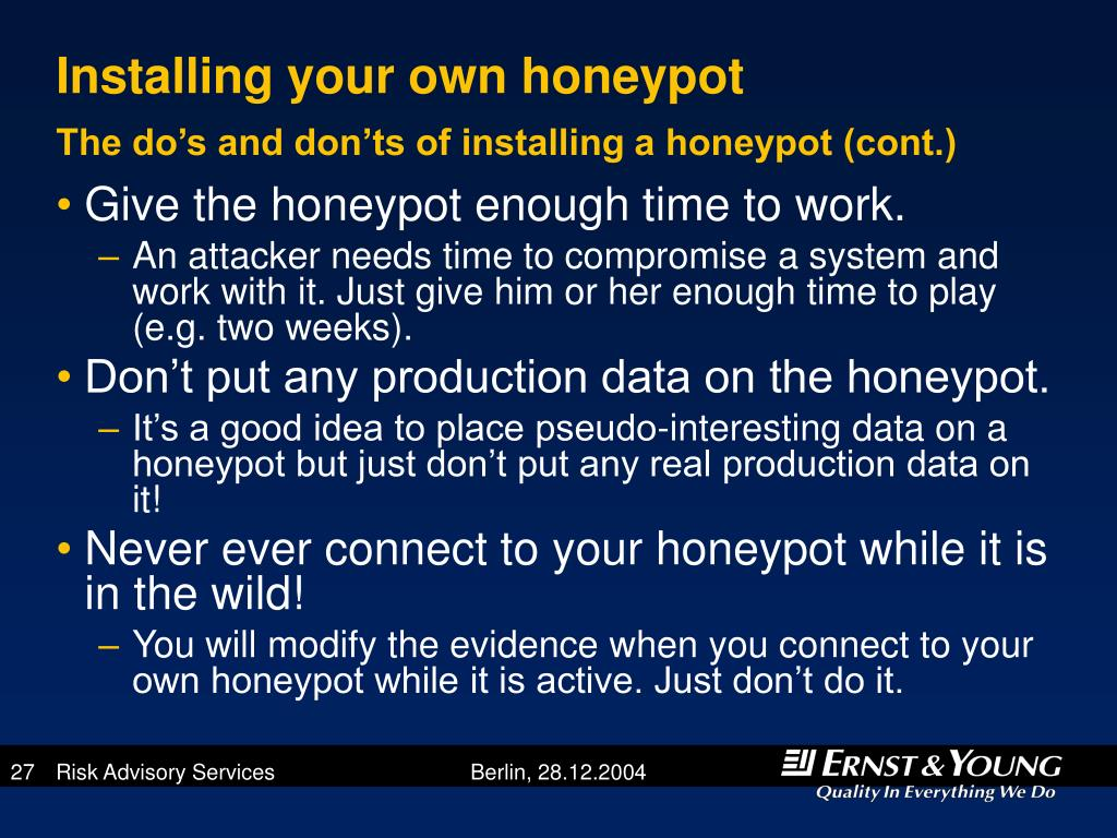 Installing your own honeypot