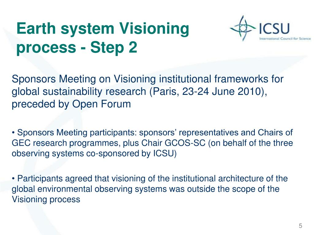 Earth system Visioning process - Step 2