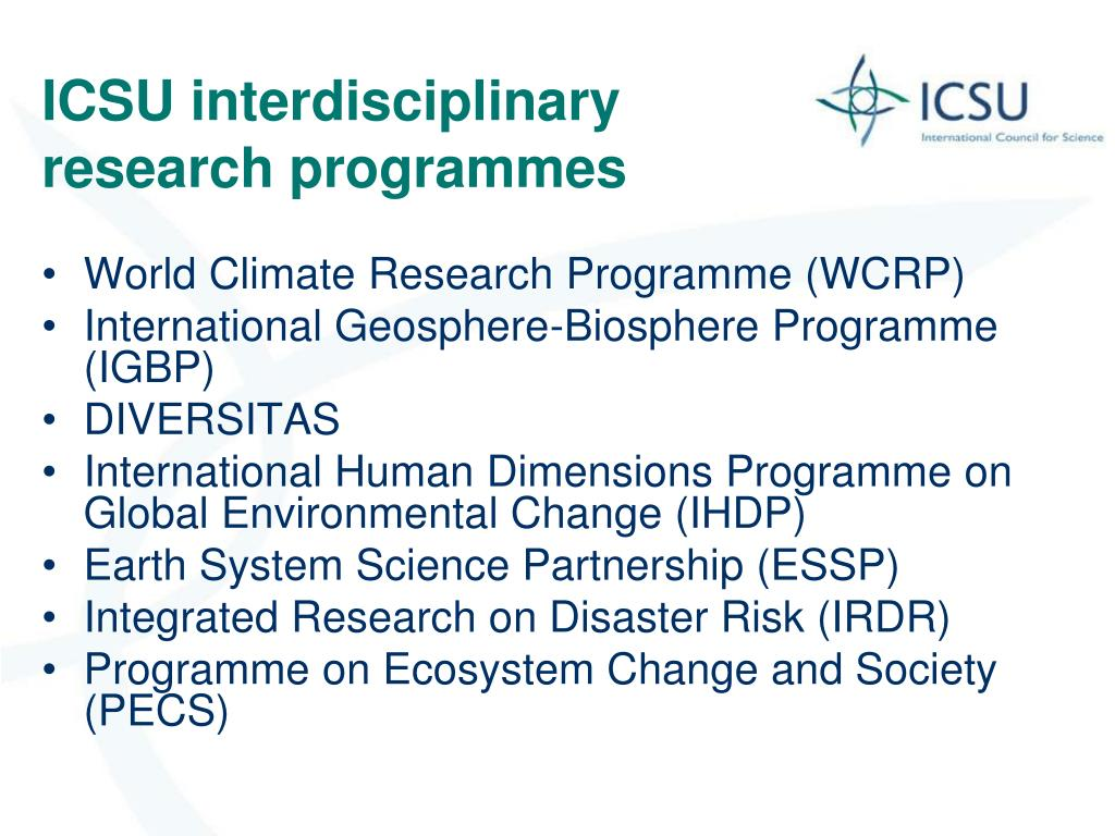 ICSU interdisciplinary research programmes
