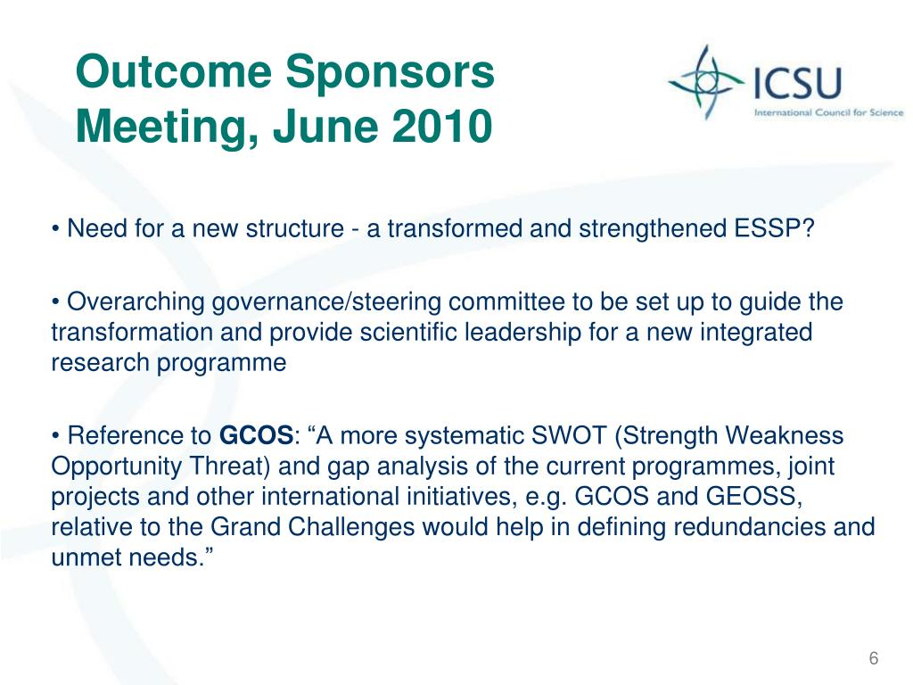 Outcome Sponsors Meeting, June 2010