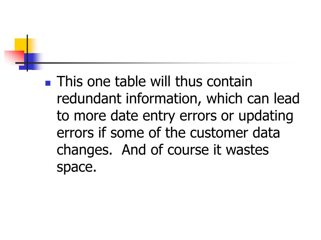 This one table will thus contain redundant information, which can lead to more date entry errors or updating errors if some of the customer data changes.  And of course it wastes space.