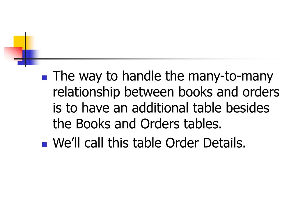 The way to handle the many-to-many relationship between books and orders is to have an additional table besides the Books and Orders tables.
