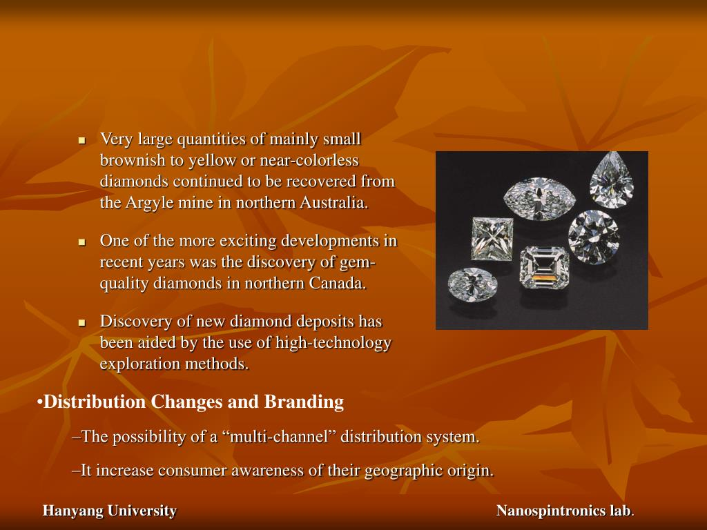 Very large quantities of mainly small brownish to yellow or near-colorless diamonds continued to be recovered from the Argyle mine in northern Australia.