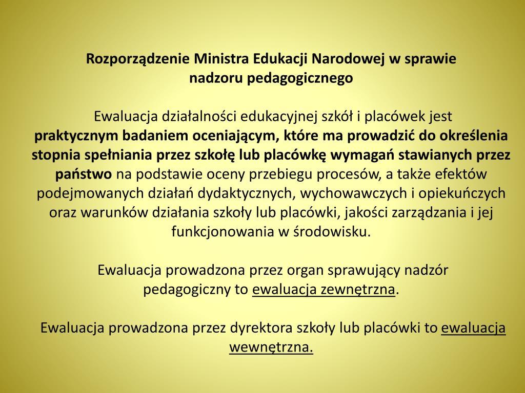 Rozporządzenie Ministra Edukacji Narodowej w sprawie