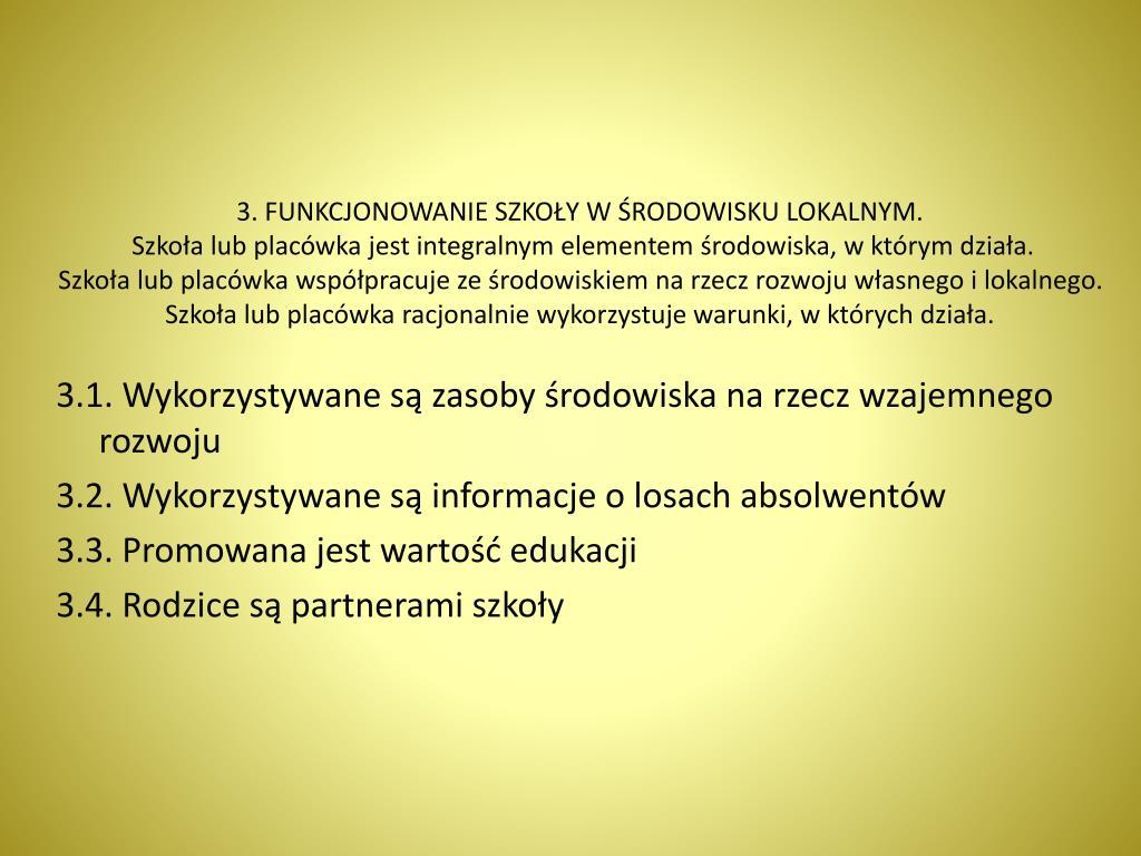 3. FUNKCJONOWANIE SZKOŁY W ŚRODOWISKU LOKALNYM.