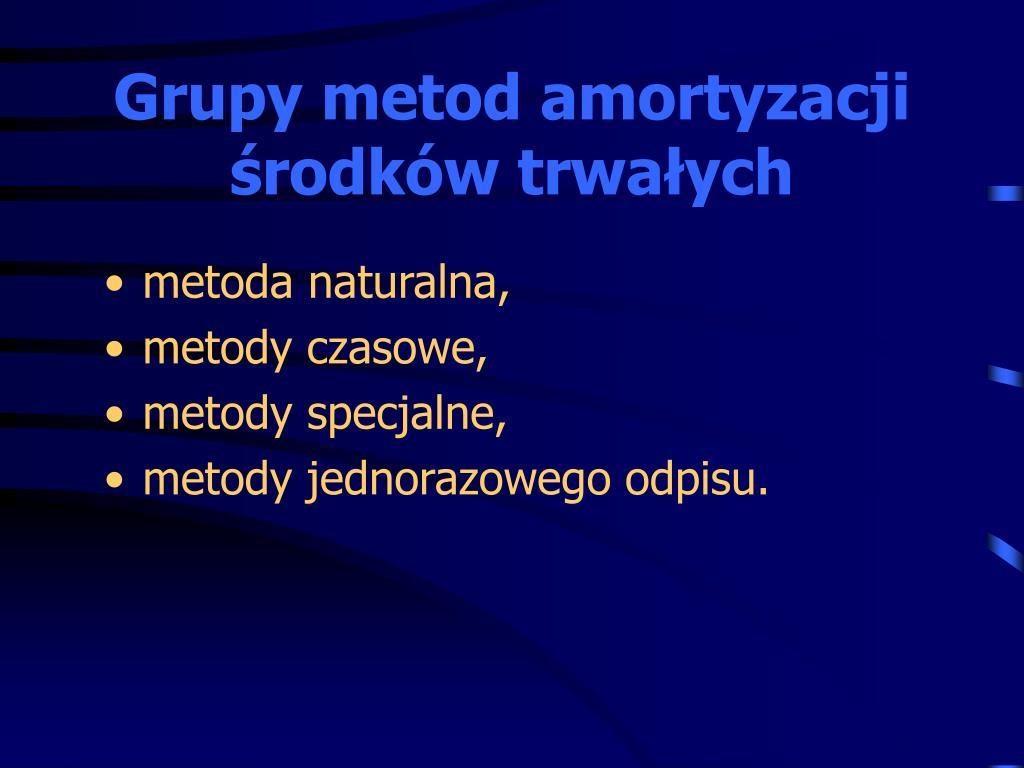Grupy metod amortyzacji środków trwałych