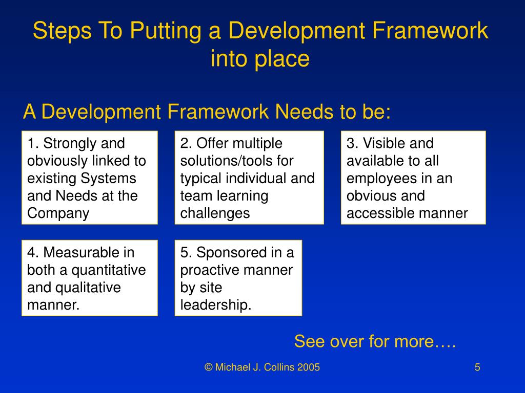 Steps To Putting a Development Framework into place
