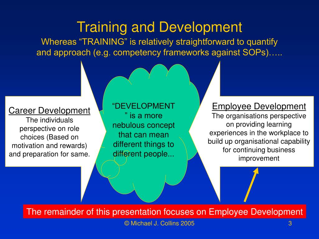 The remainder of this presentation focuses on Employee Development