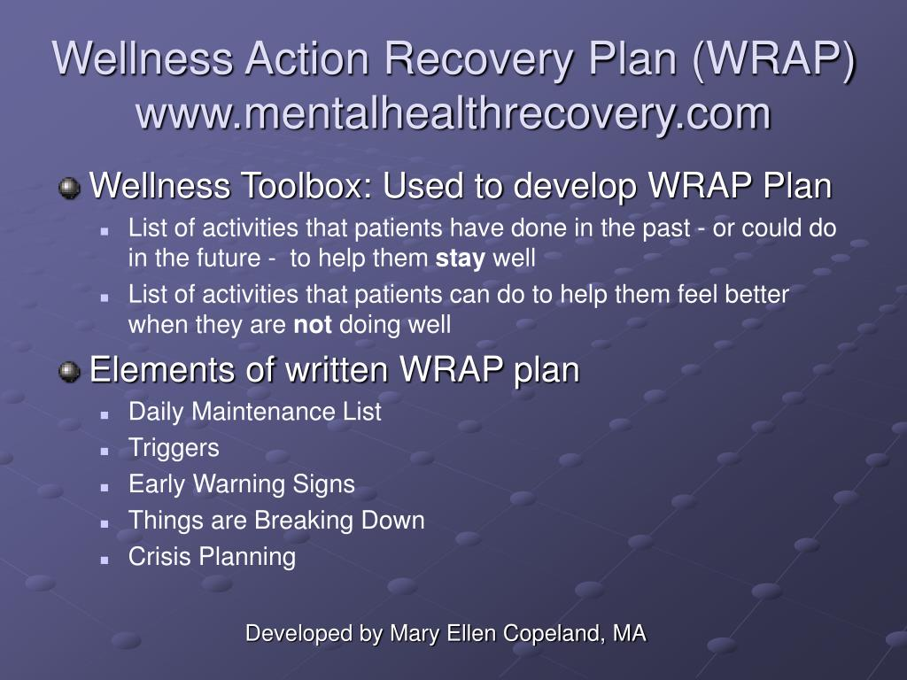 wellness recovery action plan pdf