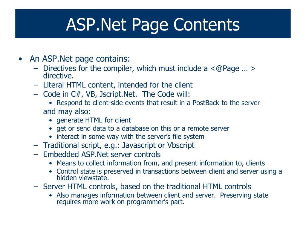 ASP.Net Page Contents