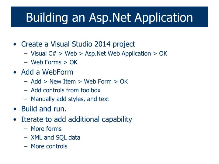 Building an asp net application